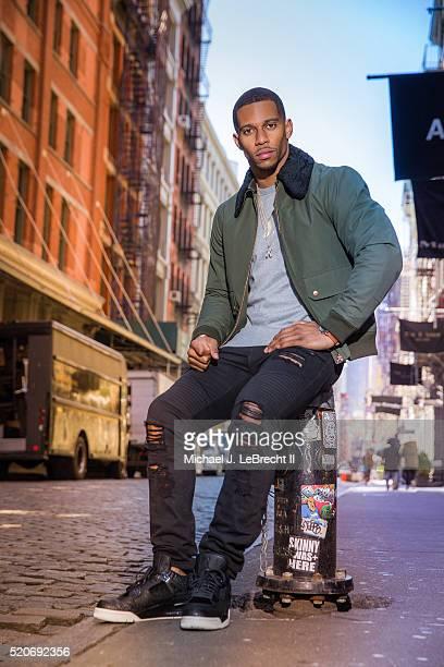 Fashionable 50: Portrait of New York Giants wide receiver Victor Cruz posing during photo shoot on Mercer Street in the SoHo neighborhood. New York,...