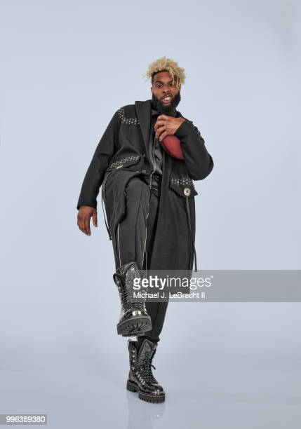 Fashionable 50 Portrait of New York Giants wide receiver Odell Beckham Jr posing during photo shoot at Meredith Photo Studios New York NY CREDIT...