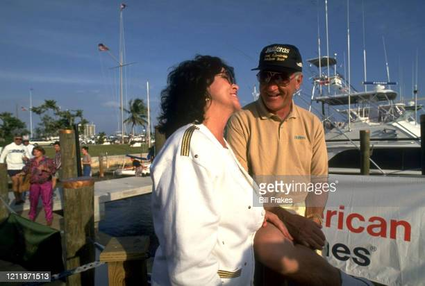 Feature Miami Dolphins coach Don Shula with girlfriend Mary Anne Stephens sitting on boat Miami FL CREDIT Bill Frakes