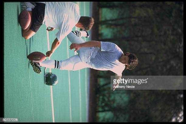 Feature NY Jets Tony Meola casual kicking during training camp USA Soccer goalie invited to NY Jets camp for tryout