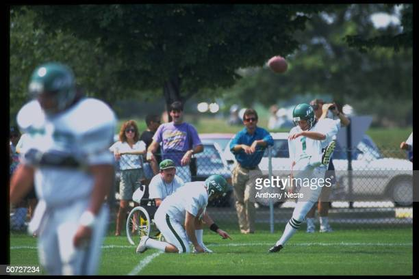 Feature NY Jets Tony Meola kicking during training camp USA Soccer goalie invited to NY Jets camp for tryout