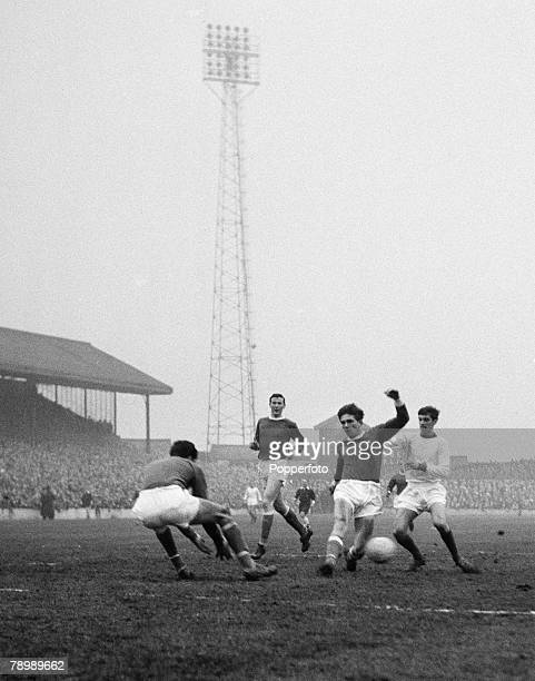 Football, February 1964, Barnsley v Manchester United, Manchester United's George Best causes panic in the Barnsley defence