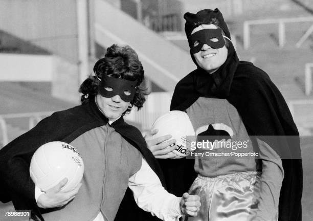 Football February 1977 Liverpools strike partnership Kevin Keegan and John Toshack pose as Batman and Robin