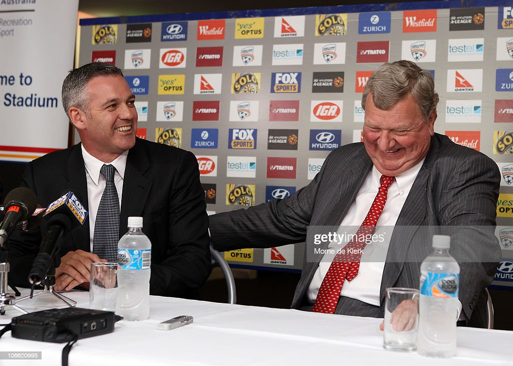 Football Federation Australia CEO Ben Buckley and Rob Gerard, new part owner, during a media conference announcing the new owners of Adelaide United Football Club at Hindmarsh Stadium on November 8, 2010 in Adelaide, Australia.