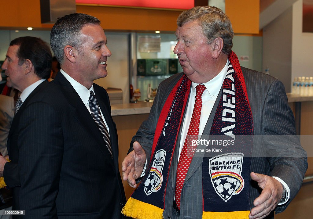 Football Federation Australia CEO Ben Buckley talks with Rob Gerard, a new part owner, after a media conference announcing the new owners of Adelaide United Football Club at Hindmarsh Stadium on November 8, 2010 in Adelaide, Australia.