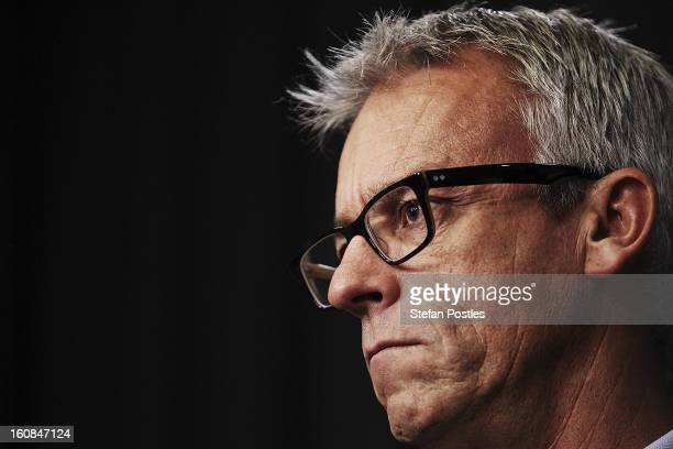 Football Federation Australia CEO David Gallop speaks to media representatives at Parliament House on February 7, 2013 in Canberra, Australia. The...