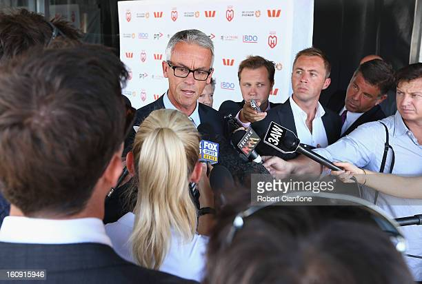 Football Federation Australia CEO David Gallop speaks to the media during an A-League press conference at The Peninsula on February 8, 2013 in...