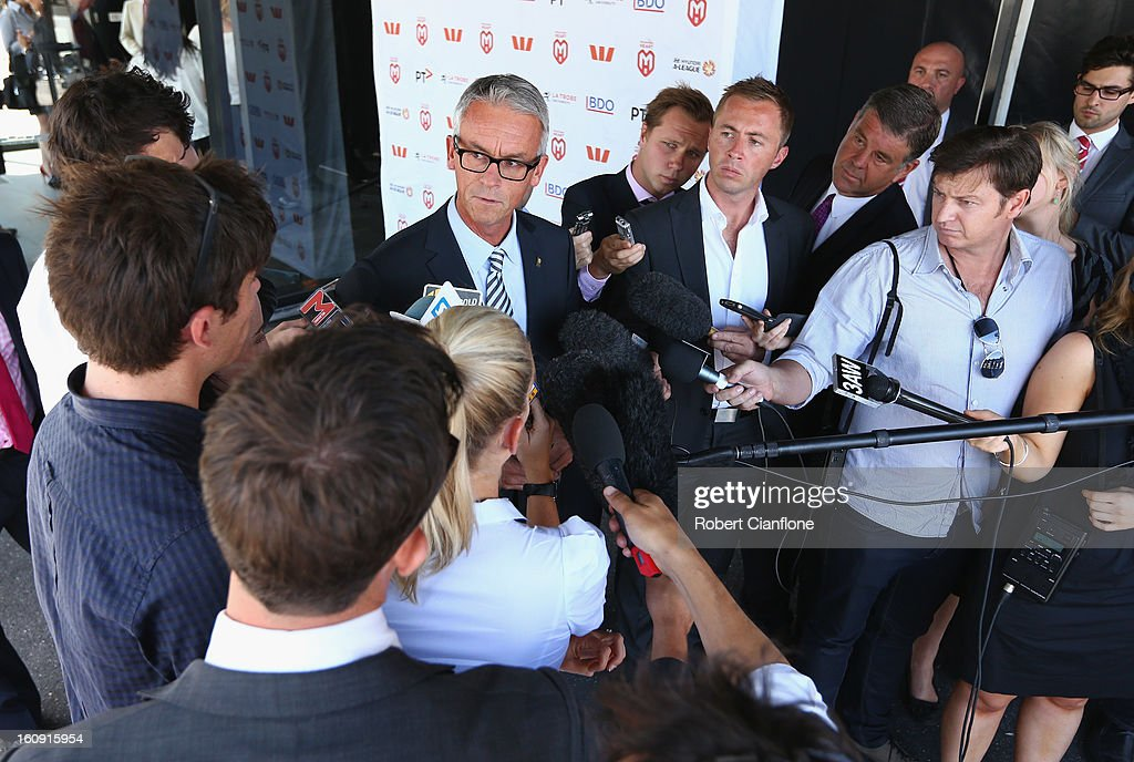 Football Federation Australia CEO David Gallop speaks to the media during an A-League press conference at The Peninsula on February 8, 2013 in Melbourne, Australia.