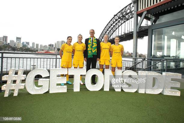 Football Federation Australia Chief Executive Officer David Gallop poses with Lisa De Vanna Chloe Logarzo Alanna Kennedy and Caitlin Foord of the...