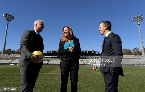 Football Federation Australia Head of National Performance Luke Casserly former Socceroos captain Matt McKay and ACT Deputy Chief Minister Yvette...