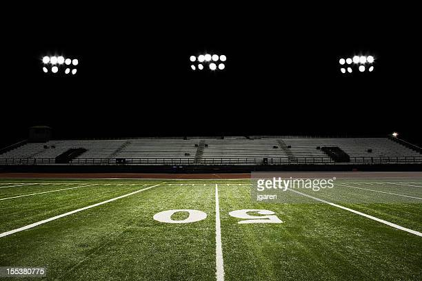 football field at night - american football pitch stock pictures, royalty-free photos & images