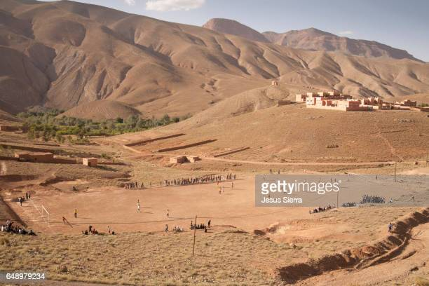 Football field in Dades Valley, Morocco.