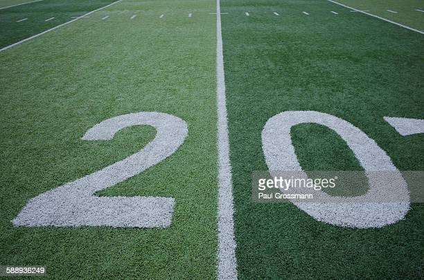 Football field marking of 20 yard line