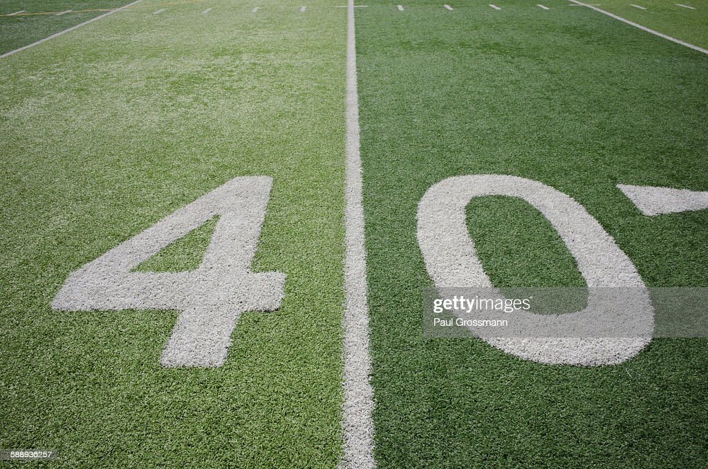 Football field marking of 40 yard line : Stock Photo