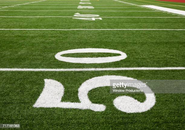 Football field marking of 50 yard line