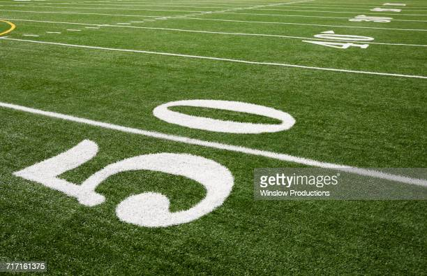 Football field marking of 50 yard line