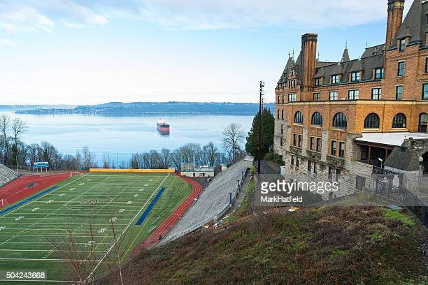 football field with bleachers - tacoma stock pictures, royalty-free photos & images