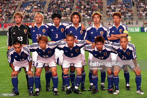 Football FIFA Confederations Cup 4th June 2001 Ibaraki Japan Japan 0 v Brazil 0 The Japan team line up for a group photograph Back Row LR Ryota...