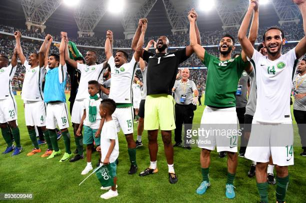 Football Fifa World Cup Russia 2018 / 'rSaudi Arabia Team_Celebrates for Qualifing at FIFA Russia WC 2018 From the left Motaz Hawsawi Abdullah Al...