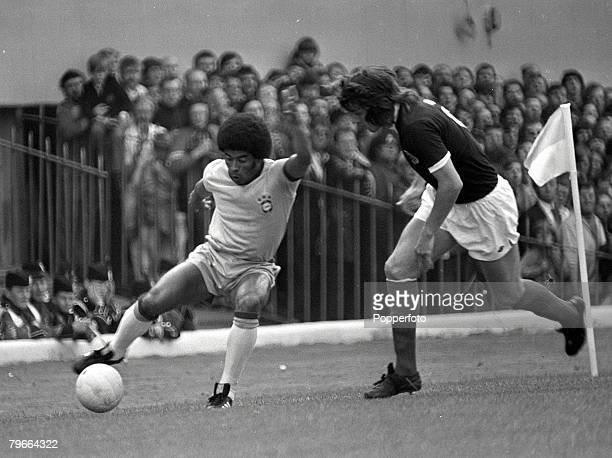 Football Friendly International Glasgow Scotland Scotland 0 v Brazil 1 30th June Brazil's Jairzinho on the ball wrong footing Scotland's Jim Holton...