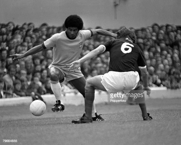Football Friendly International Glasgow Scotland Scotland 0 v Brazil 1 30th June 1973 Brazil's Jairzinho on the ball wrong footing Scotland's Jim...
