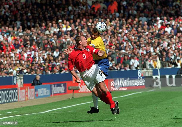 Football Friendly International Wembley 27th May England 1 v Brazil 1 England's captain Alan Shearer is challenged for the ball by Brazilian defender...