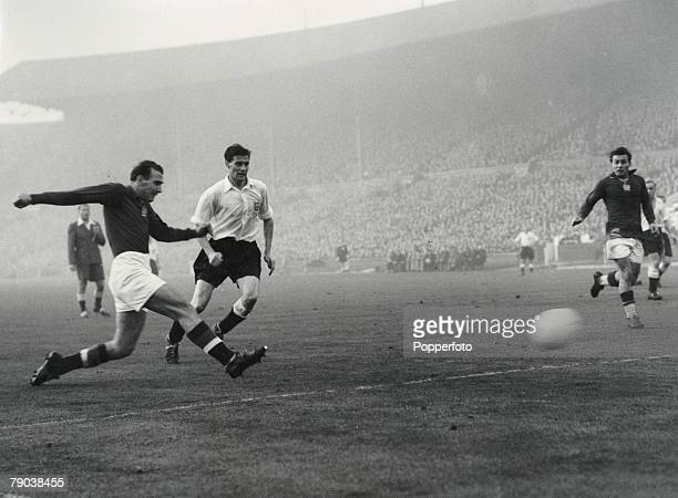 Football Friendly International Wembley England 25th November 1953 England 3 v Hungary 6 Hungary's sixth goal scored by centre forward Nandor...