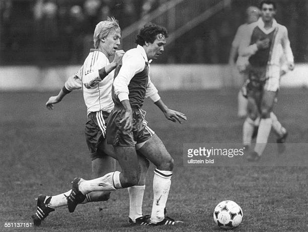 Football friendly match in Aue East Germany vs Algeria 52 Scene of the match fltr Rainer Ernst and Rabah Madjer