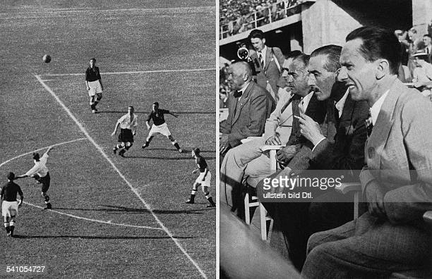 Football friendly match in Berlin Germany vs England 36 guests of honour on the stand frtl Joseph Goebbels British ambassador Sir NevilHenderson Hans...