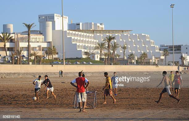 Football game on the beach of Agadir in Morocco