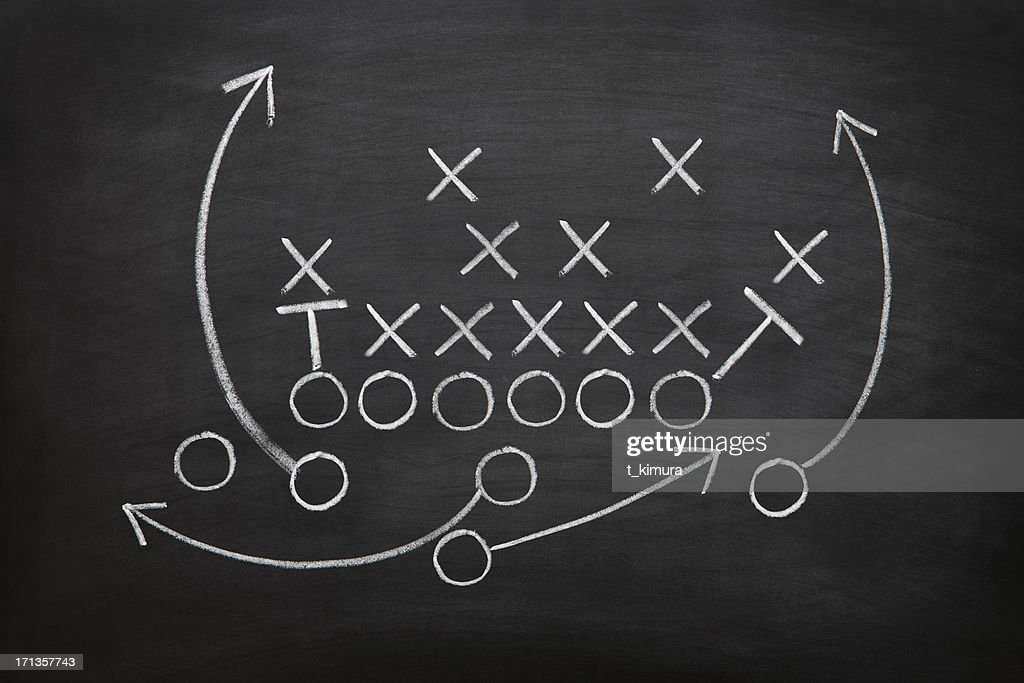 Football game plan on blackboard with white chalk : Stock Photo