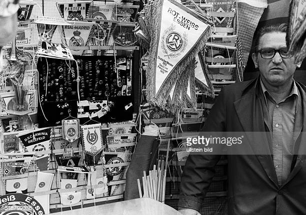 Football Germany fan shop sales stand with pennants