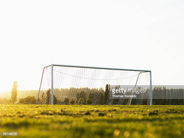 football goal on pitch, ground view - desaparecidos imagens e fotografias de stock