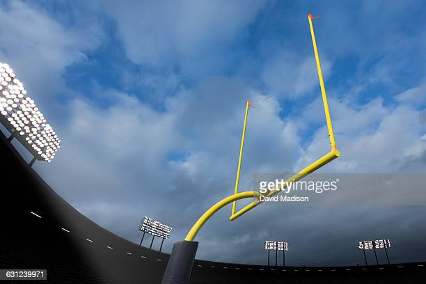 football goal posts in stadium - goal post stock pictures, royalty-free photos & images