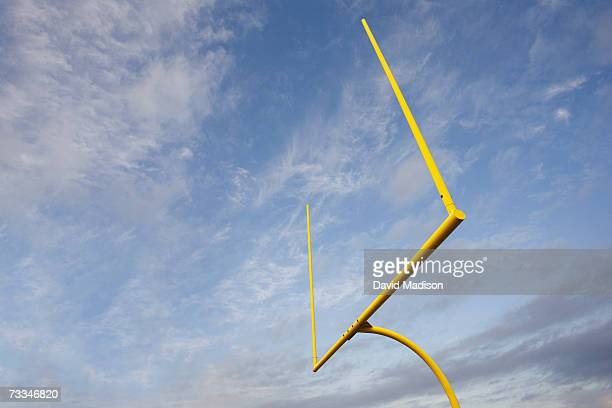 Football goalposts, low angle view
