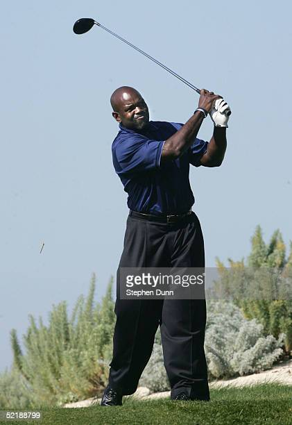 Football great Emmitt Smith hits his tee shot on the 6th hole during the third round of the AT&T Pebble Beach National Pro-Am on Spyglass Hill Golf...