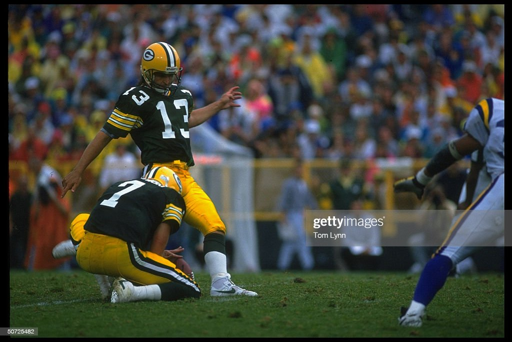 watch fae27 ad7b9 Green Bay Packers Chris Jacke in action making FG 20-20 vs ...