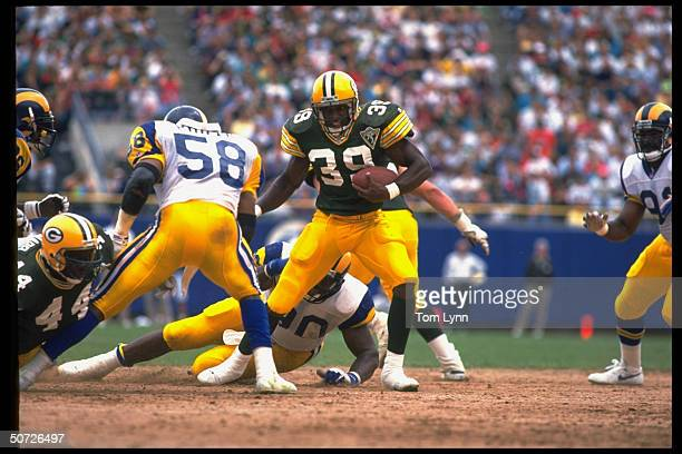 Green Bay Packers Darrell Thompson in action vs LA Rams.