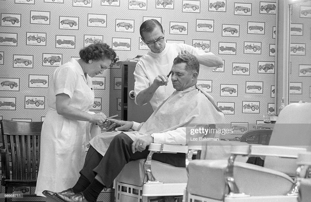 Green Bay Packers Head Coach Vince Lombardi Getting Haircut And