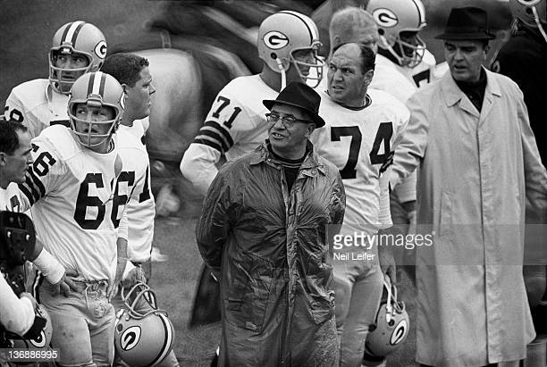 Football Green Bay Packers head coach Vince Lombardi on sidelines during game vs Chicago Bears at Wrigley Field Chicago IL CREDIT Neil Leifer