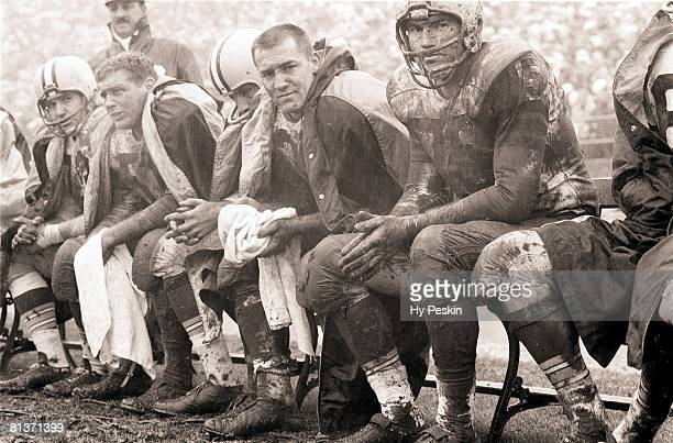 Football Green Bay Packers Jim Ringo Jim Taylor and Forrest Gregg on sidelines during game vs San Francisco 49ers San Francisco CA