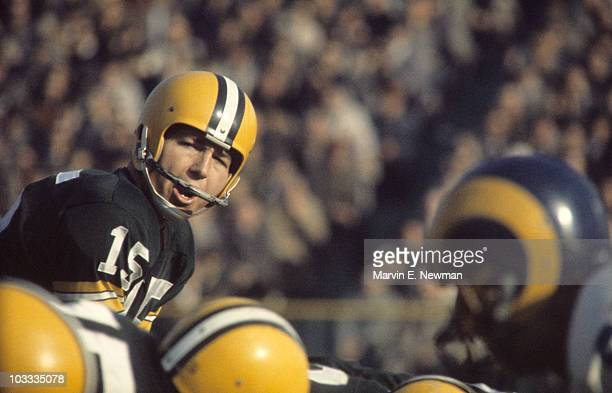 Green Bay Packers QB Bart Starr calling signals during game vs Los Angeles Rams Milwaukee WI CREDIT Marvin E Newman