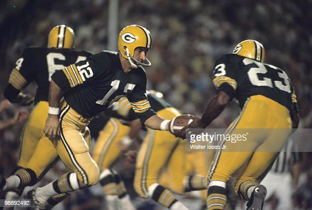 Green Bay Packers QB Zeke Bratkowski in action handoff to Travis Williams vs Dallas Cowboys during preseason Dallas TX 8/24/1968 CREDIT Walter Iooss...