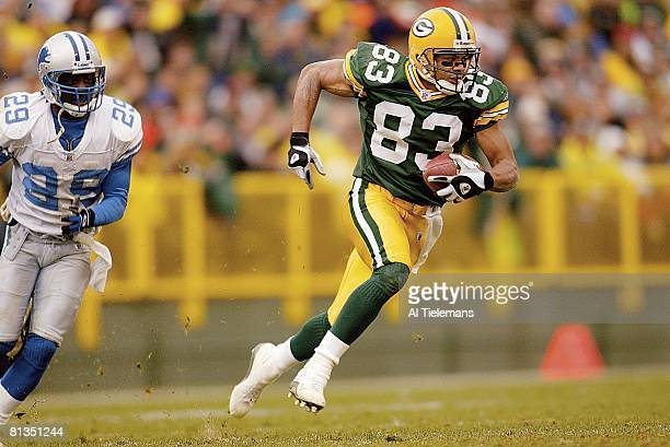Football Green Bay Packers Terry Glenn in action after making catch vs Detroit Lions Green Bay WI