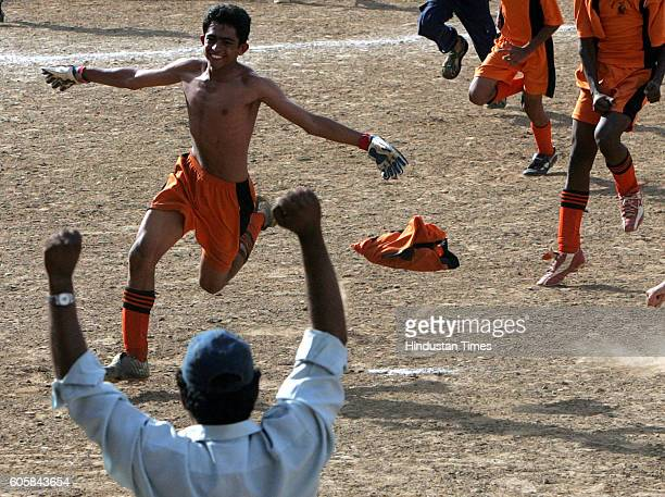 Football Haroon Bagsari captain of Christ Church celebrating after his team beat St Joseph's Malad in the tiebreaker in the MSSA Div U16 III PO final...