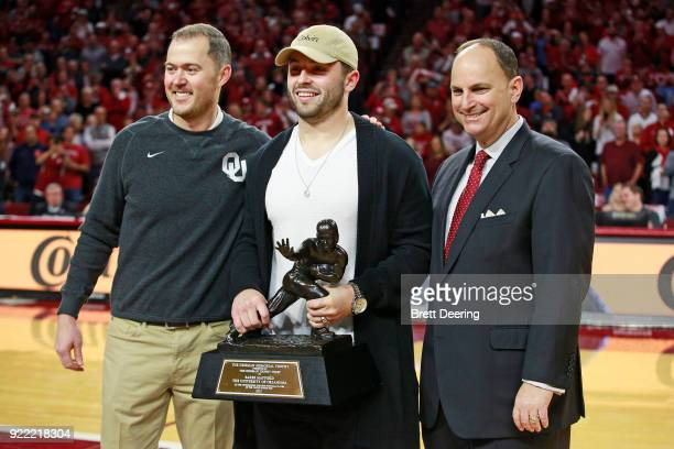 Football head coach Lincoln Riley of the Oklahoma Sooners former quarterback and Heisman Trophy winner Baker Mayfield and Vice President for...