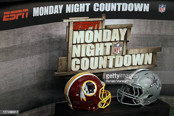 Football helmets of the Washington Redskins and the Dallas Cowboys before an ESPN Monday Night football game at Cowboys Stadium on September 26, 2011...