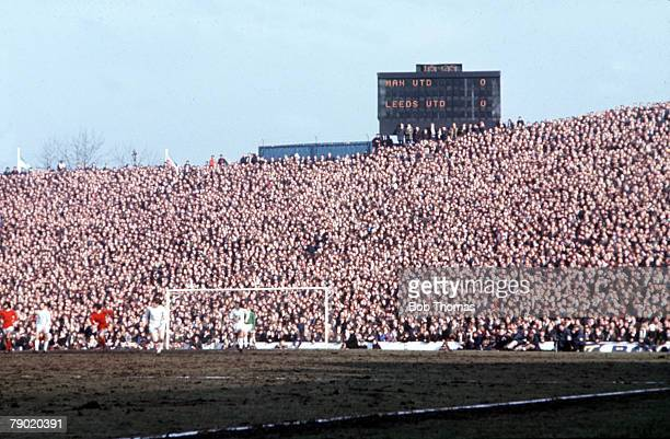 Football, Hillsborough, 1970 FA Cup Semi Final, 14th March Manchester United 0 v Leeds United 0, The electronic scoreboard shows the score during the...