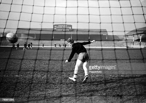 Football Hillsborough, Sheffield, The 19-year old inside right of Sheffield Wednesday Albert Quixall heads goalwards in training