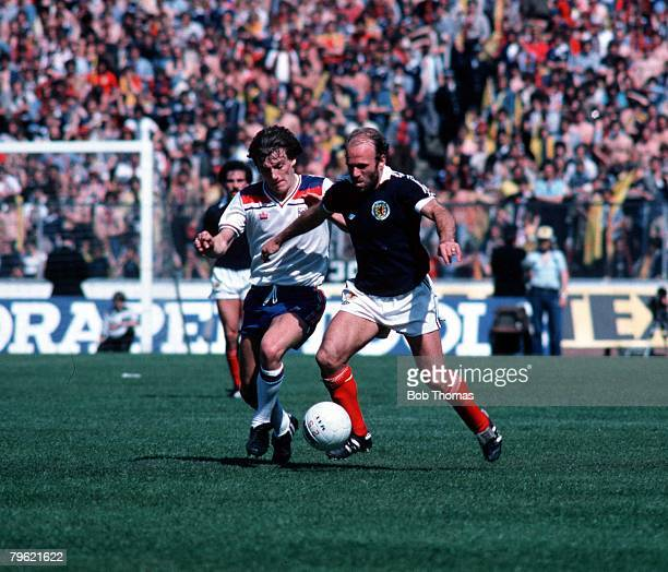 Football Home Championships 24th May 1980 Hampden Park Scotland Scotland 0 v 2 England Archie Gemmill of Scotland takes on Steve Coppell of England